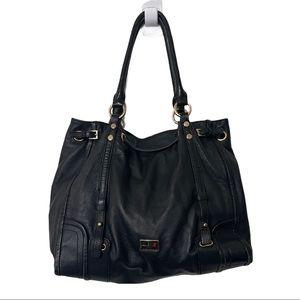 LOVE MOSCHINO Goldtone Black Leather Shoulder Bag